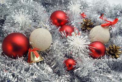 Red balls silver tinsel christmas decorations