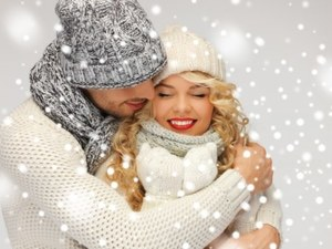 Romantic couple in snow